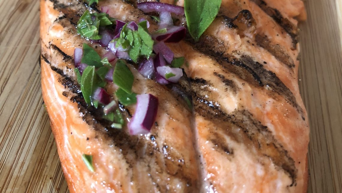 Grilled Salmon with Oregano, Lemon, and Onion