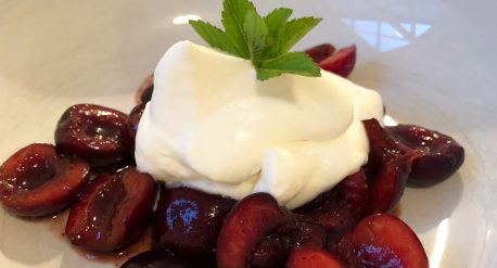 Spiced Cherries with Honey Whipped Cream