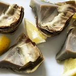 Steamed Artichokes with Toum (garlicky goodness)