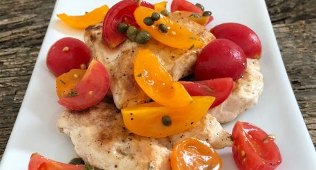Sautéed Chicken with Tomato and Caper Salad