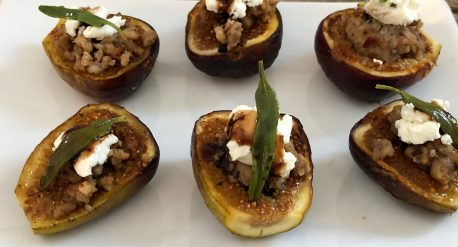 Grilled Figs with Sausage and Goat Cheese