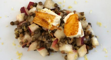 Nectarine and Lentil Salad with Seared Feta