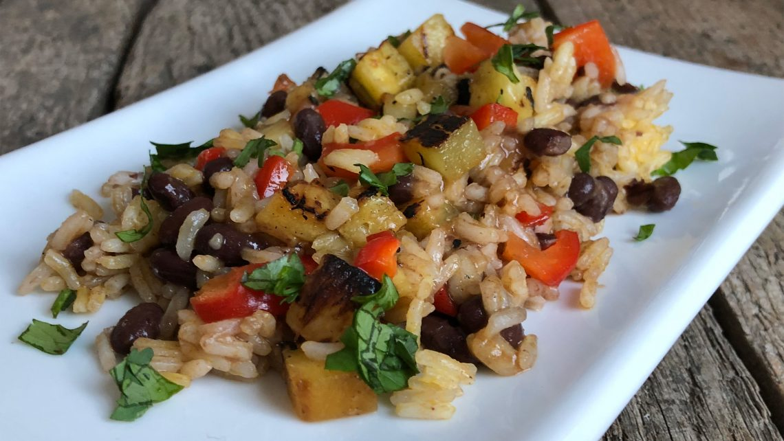Grilled Pineapple Rice and Beans