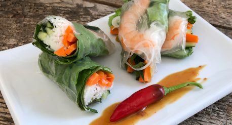 Loaded Summer Rolls with Sweet Heat Peanut Sauce