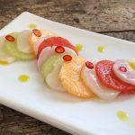 Melon Scallop Ceviche with Cilantro Oil and Serrano Peppers