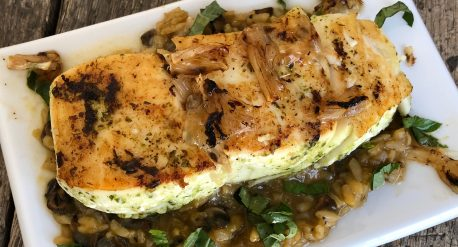 Garlic Basil Seared Halibut with Charred Lemon