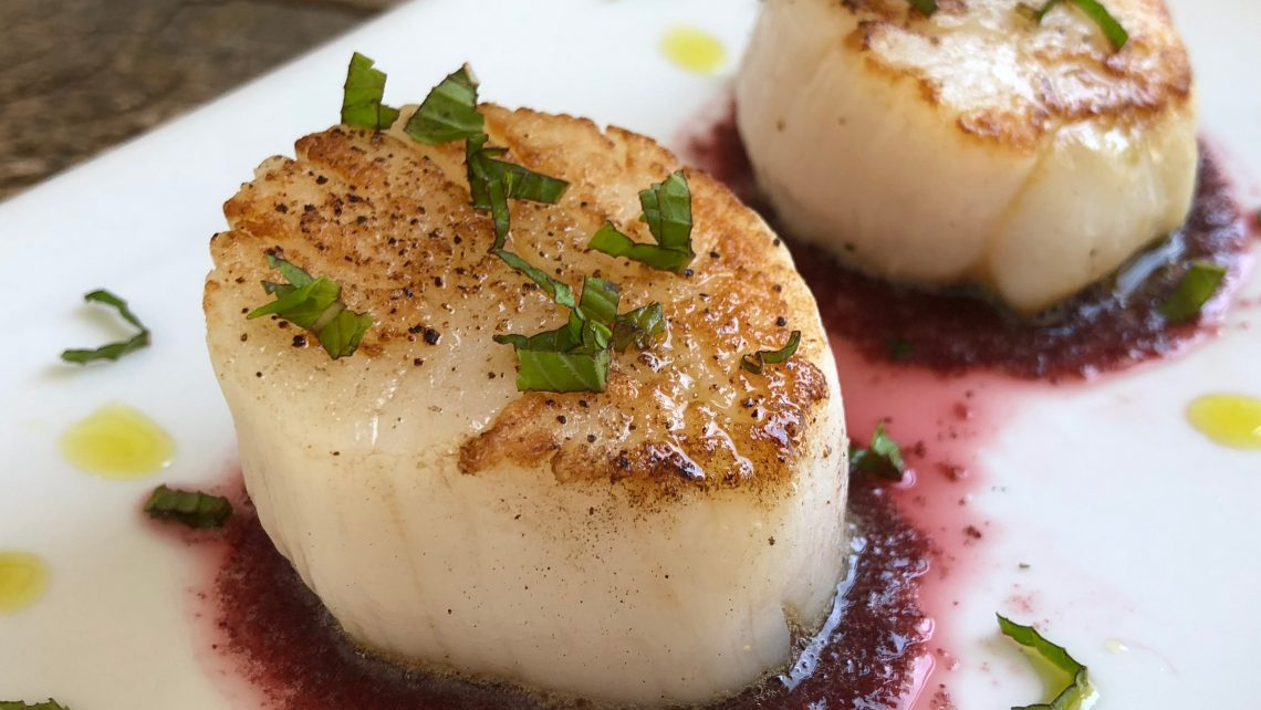 Seared Scallops with Cherry Dulse Pulse