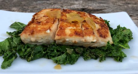 Soy and Candied Ginger Halibut with Sautéed Kale