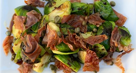Charred Brussels Sprouts with Crispy Prosciutto and Capers
