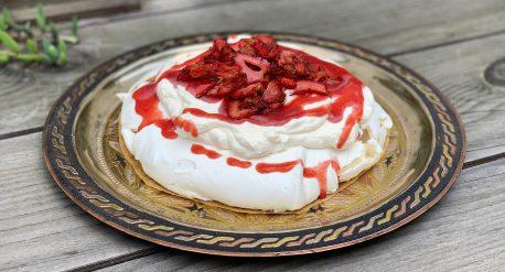 Roasted Strawberry Pavlova