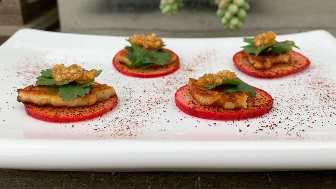 Spicy Grilled Halloumi Radish Bites
