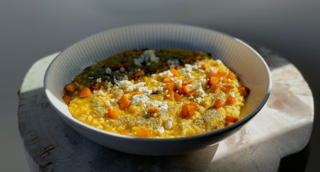 Roasted Kabocha Risotto with Sage Hazelnut Pesto