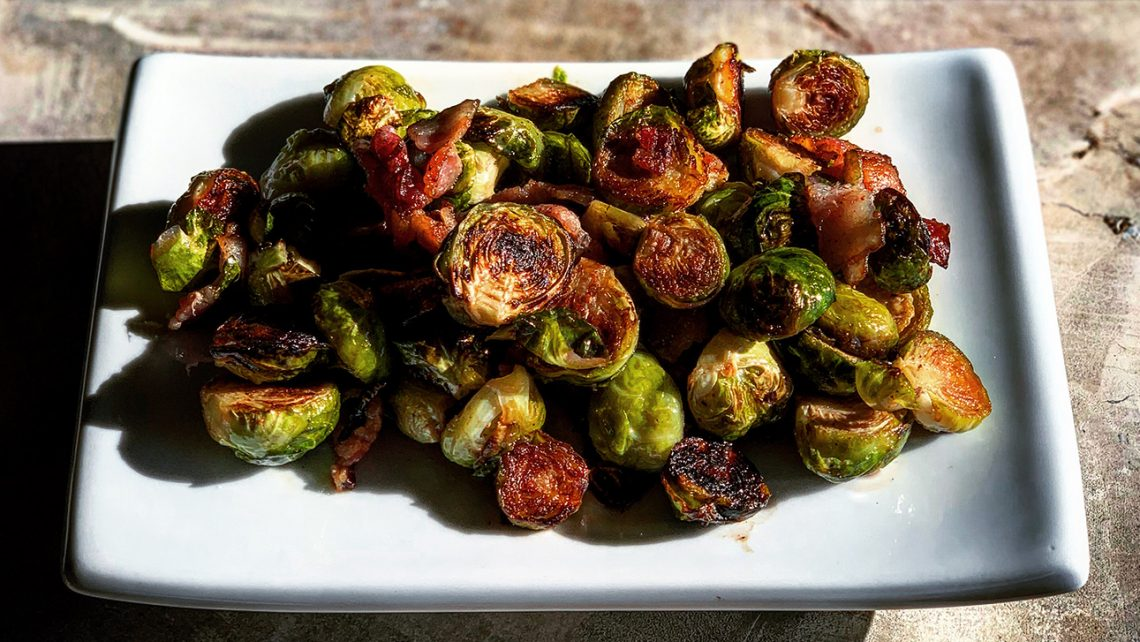 Bacon Roasted Brussels Sprouts with Nutmeg